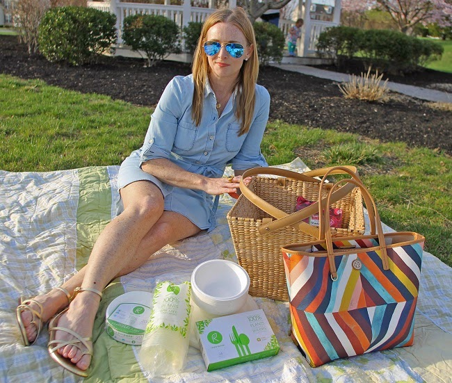 jcrew gold sandals, tory burch handbag, repurpose tableware, old navy chambray shirtdress, ray-ban mirrored sunglasses