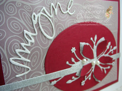 christmas red card detail with supplies