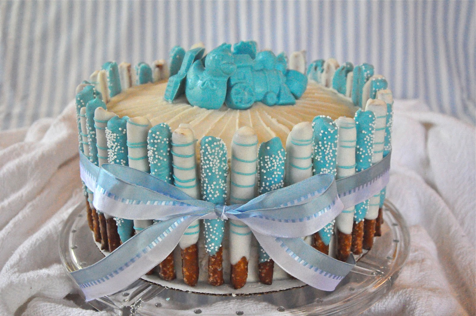Blue baby boy shower cake