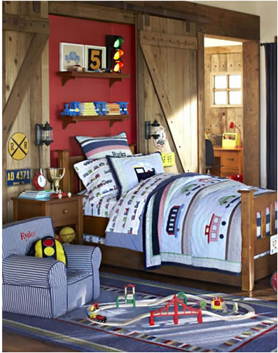 Young boys sports bedroom themes room design inspirations for Toddler train bedroom