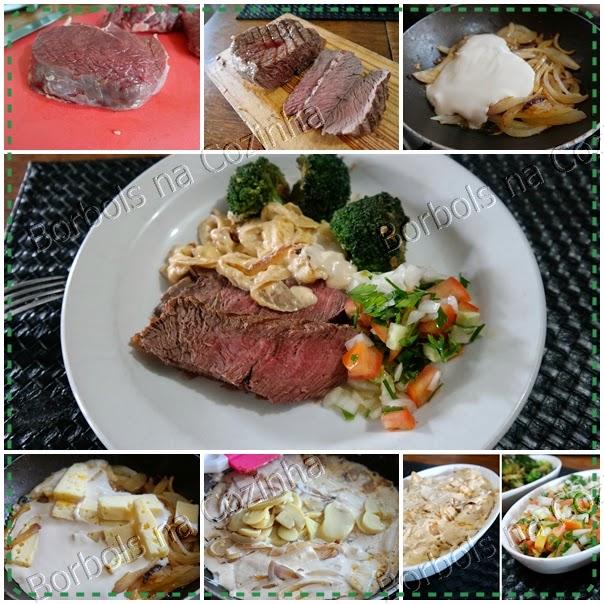 Entrecôte de contra filé, molho de cebola com queijo e champignon e brócolis no alho e shoyo lchf