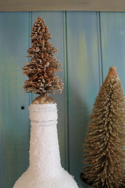 bronze glitter bottle brush tree