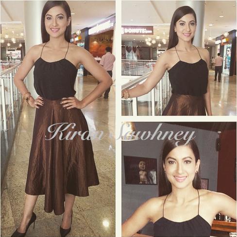 Gauahar Khan in Bungalow 8 skirt and Zara top
