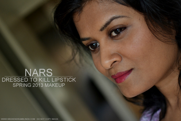 NARS Dressed to Kill Lipstick rose Red Shimmer Spring 2013 Makeup Collection Indian Darker Skin Beauty Blog Review Swatches Ingredients FOTD Looks