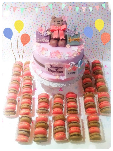 Cherie Kelly's Teddy Bear Baby Shower Cake and Macarons