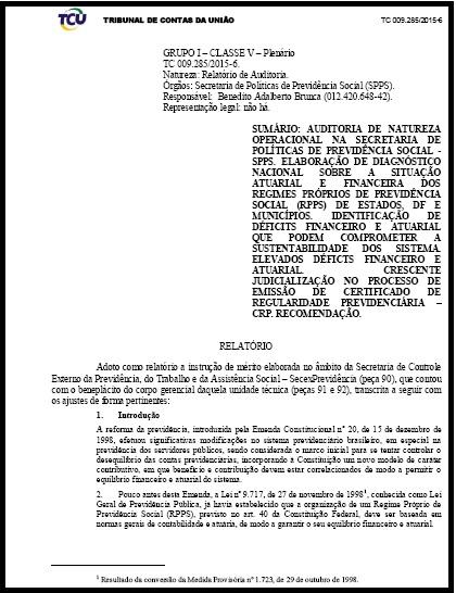 Tribunal de Contas de União - Diagnóstico sobre situação dos Regimes Próprios de Previdência