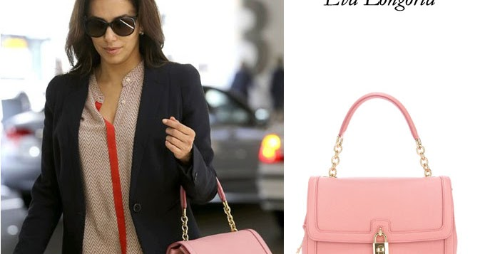 What She Wore Eva Longoria With Pink Leather Padlock Tote At Lax On May 20 I Want Her Style