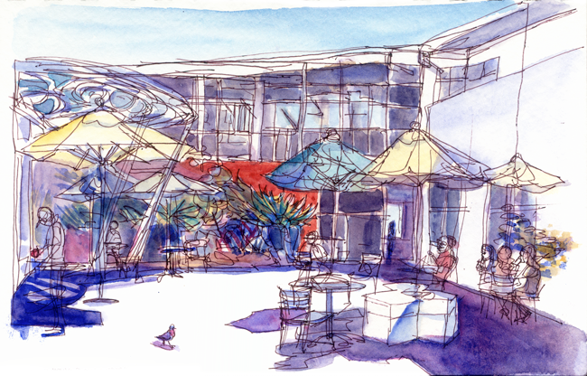 "Shiho Nakaza ""Santa Monica"" ""Los Angeles"" sketching watercolor pen outdoors library"