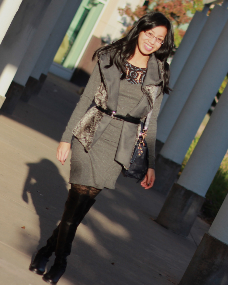 dress layering for fall and winter outfit idea