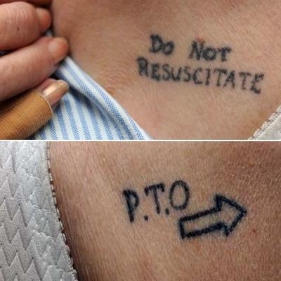 Joy Tomkins tatoos 'Do Not RESUSCITATE' and 'P.T.O'