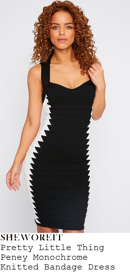 georgia-may-foote-black-and-white-zig-zag-sleeveless-bodycon-bandage-dress-bafta-games