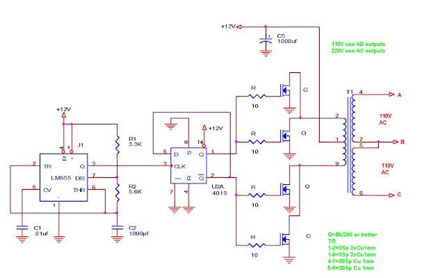 110v 220v 500w Or More Inverter Circuit Diagram