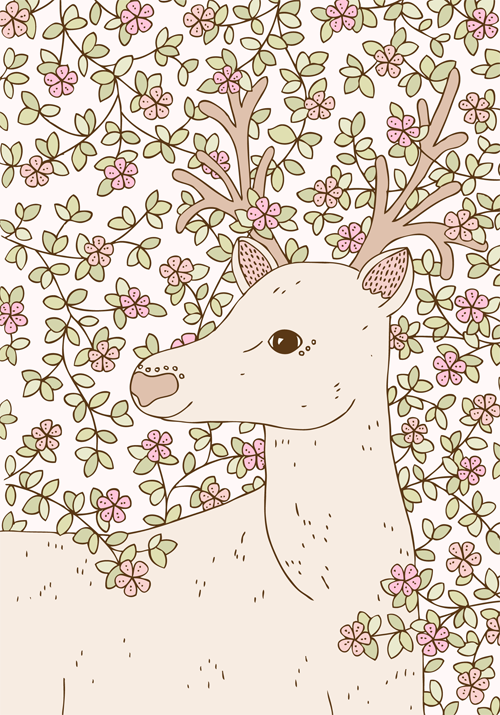 Emma Margaret Illustration Entwined deer 2015