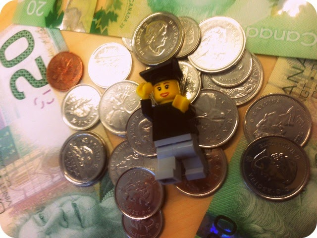 Lego Grad in a Pile of Money