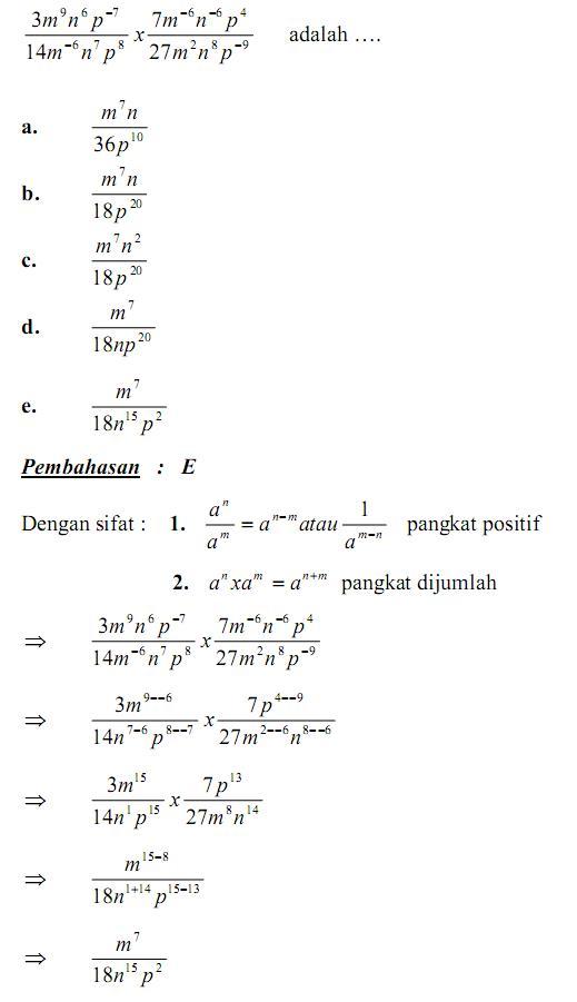 Matematika Di Sma Soal Dan Pembahasan Un Bab Pangkat Akar Dan Logaritma