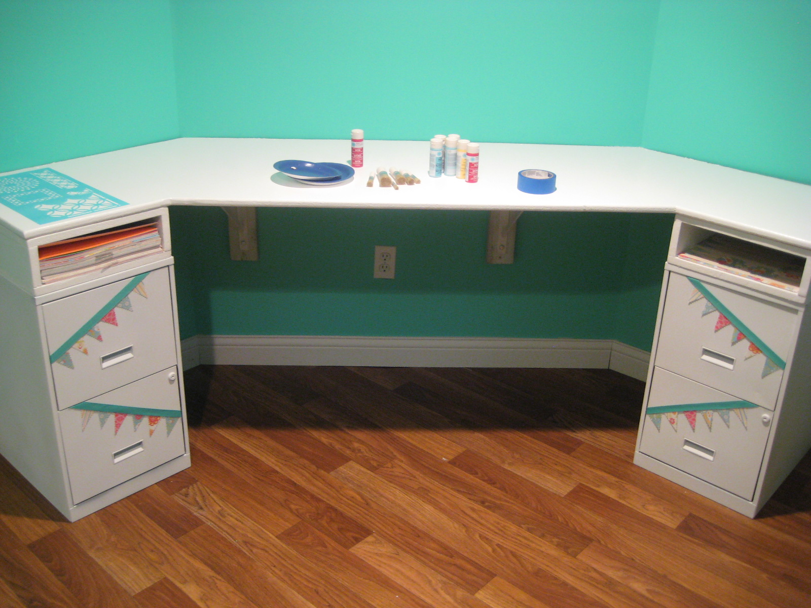 Repainted The Desk BRIGHT White, Spray Painted, And Bunted The Filing  Cabinets.