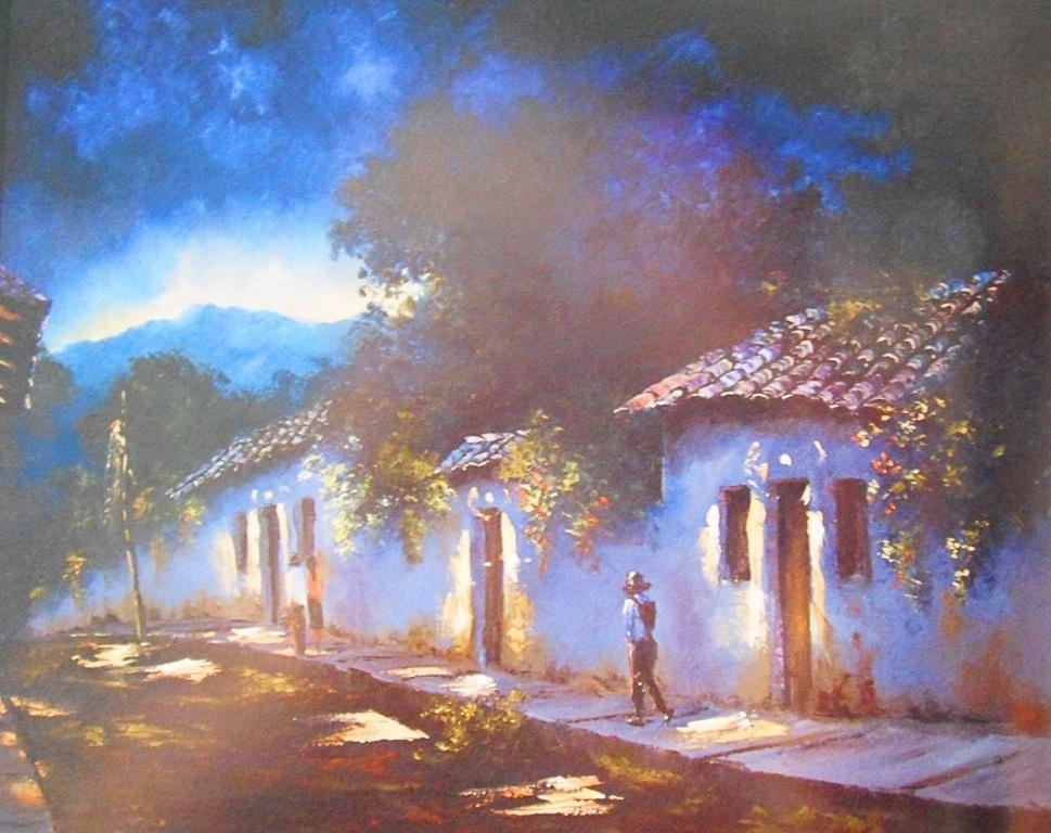 Pinturas cuadros lienzos paisajes campestres - Casas viejas al oleo ...