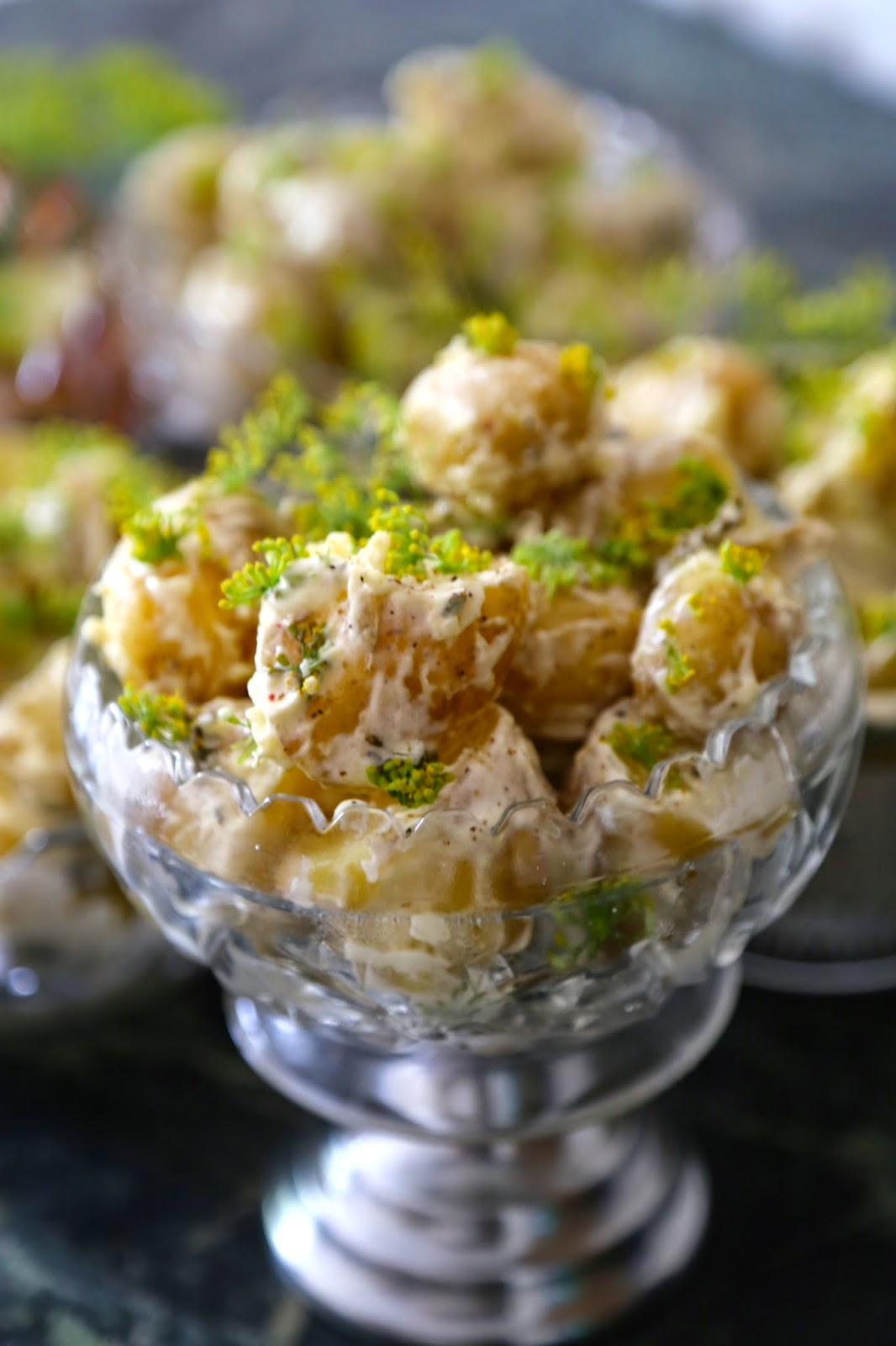 potato salad with fennel flowers