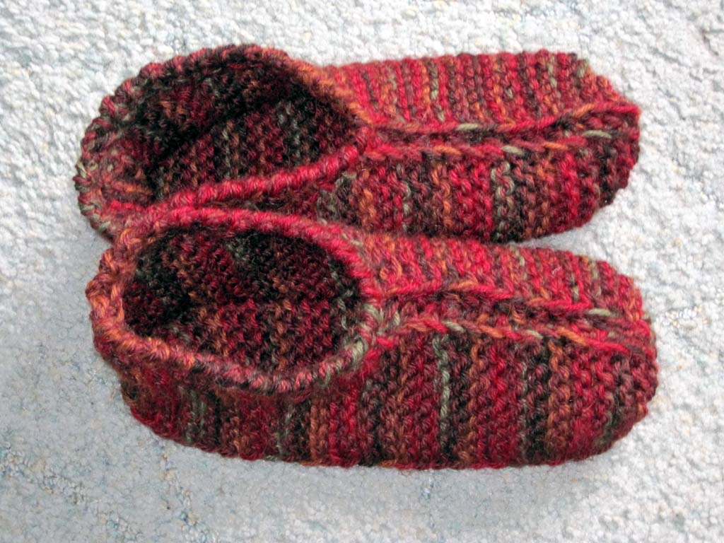 Knitting Patterns For Slippers : Knitting and More: Rosies Slippers Pattern