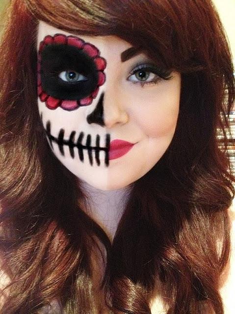 Gallery For &gt Easy Half Face Skeleton Makeup - Easy Half Face Halloween Makeup