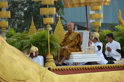 Return of body of King Norodom Sihanouk, head monk in procession, Phnom Penh, Cambodia