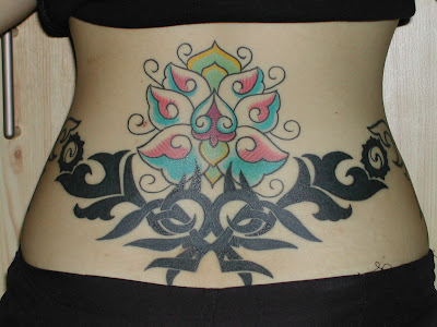 Tribal Lotus Women Tatttoo