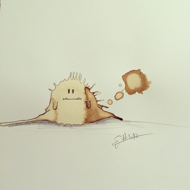 02-Mondays-Stefan-Kuhnigk-Monster-Drawings-within-Coffee-Stains-www-designstack-co