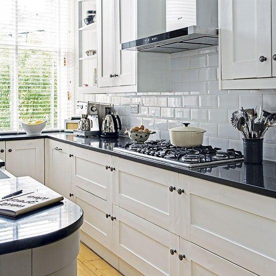 Cozinhas azulejo de metro cores branco e preto - Azulejo de metro ...