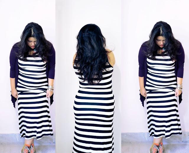 monochrome striped tank dress