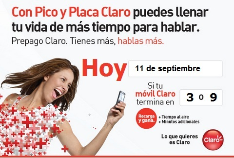 placa claro colombia hoy Martes 11 septiembre 2012 hoy es dia pico y