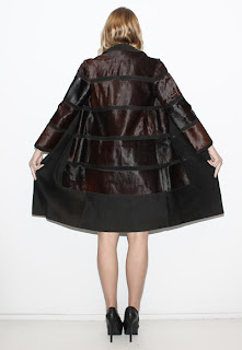 Vintage 1960's dark brown fur coat with black suede paneling.