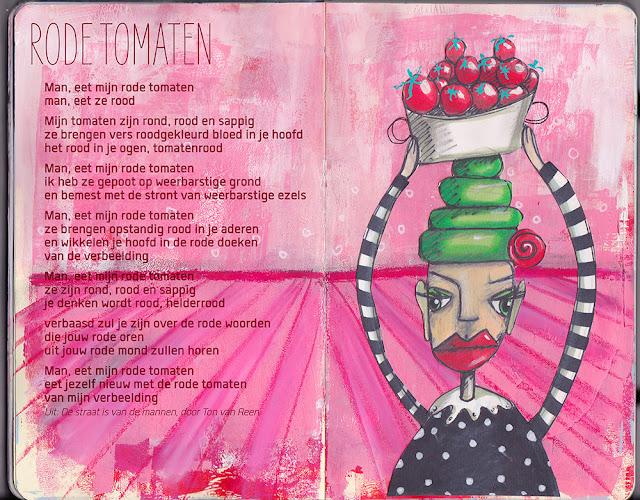 Art Journal Mixed Media Poëzie Ton van Reen Gedicht Rode Tomaten Bloknote Marieke Blokland Mevrouw Augurk