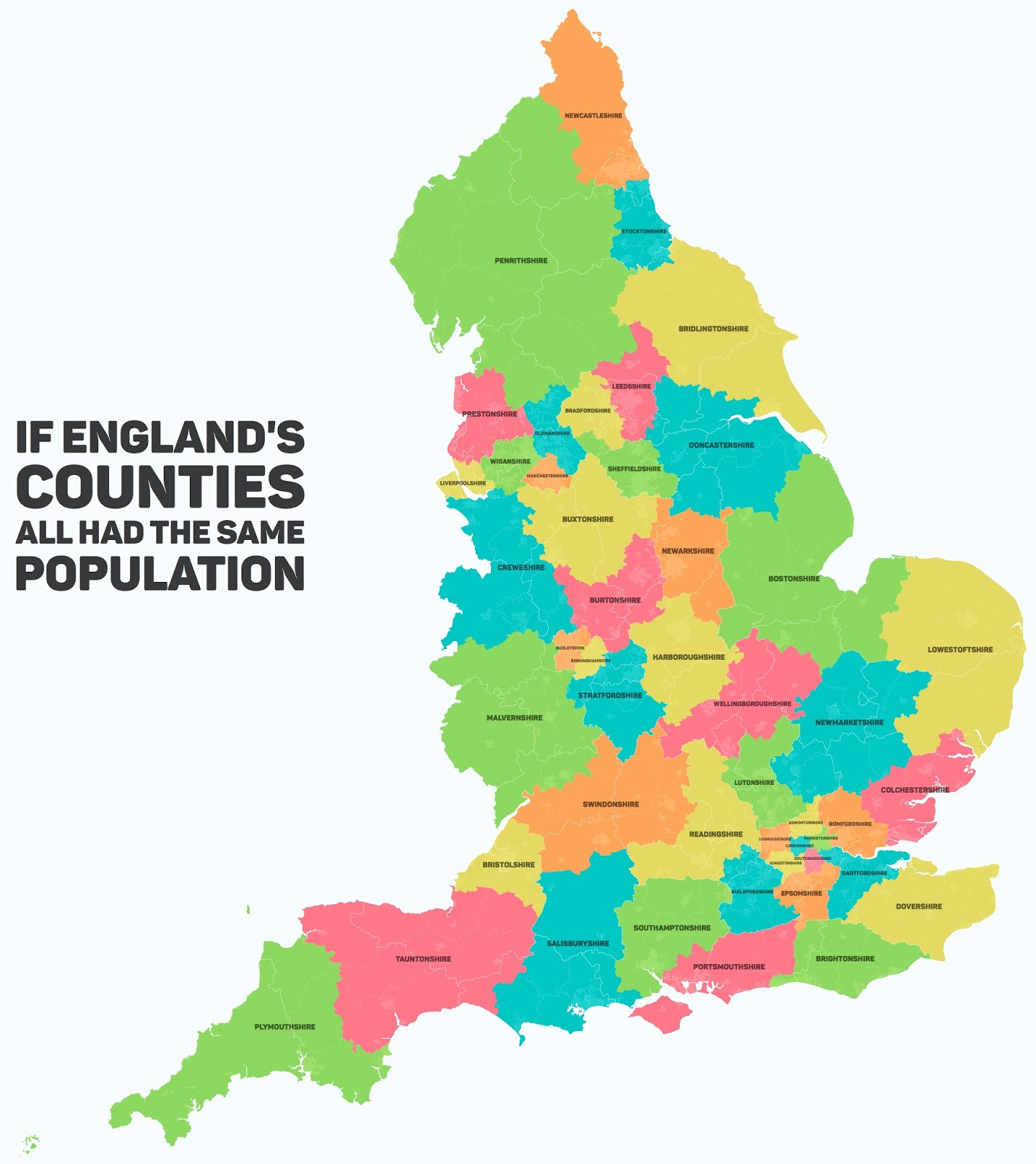 If England's counties all has the same population