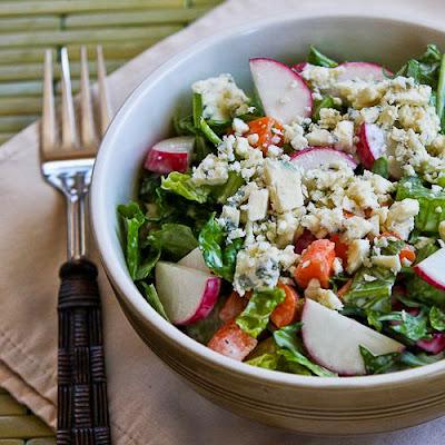 Crunchy Chopped Salad with Gorgonzola and Radishes found on KalynsKitchen.com