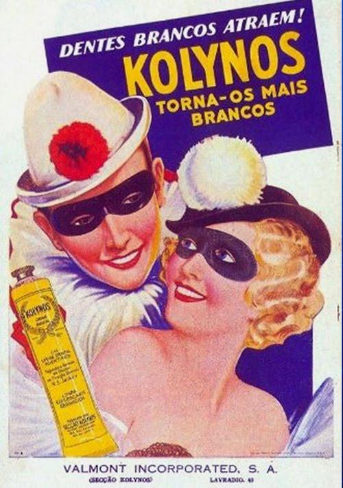 Propaganda do creme dental Kolynos nos anos 40: temática carnavalesca.