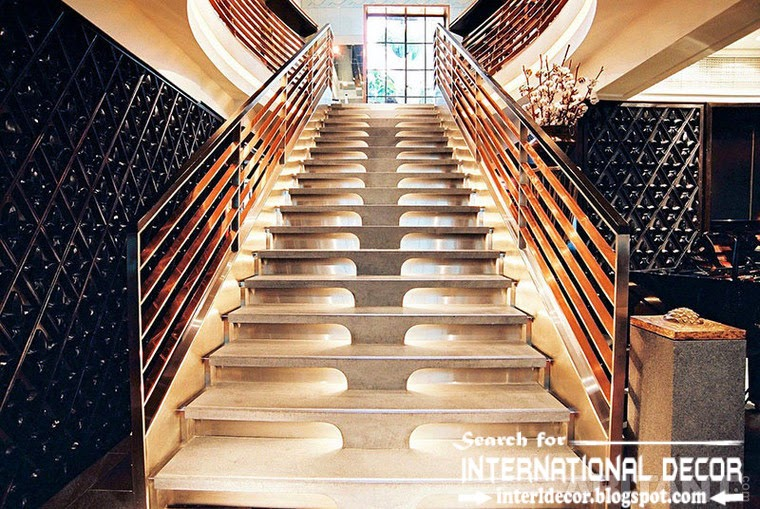 original stairs design 2015 and staircase for modern interior, stainles steel stairs