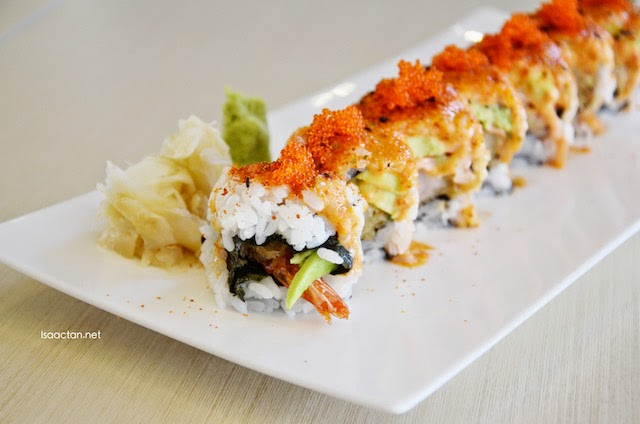 Custom made sushi roll - Breaded Tiger Prawn, Marinated Lobster Sushi Roll