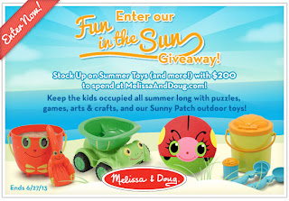 Enter the Fun in the Sun Giveaway to win a $200 Melissa and Doug eGift Code. Ends 6/27.