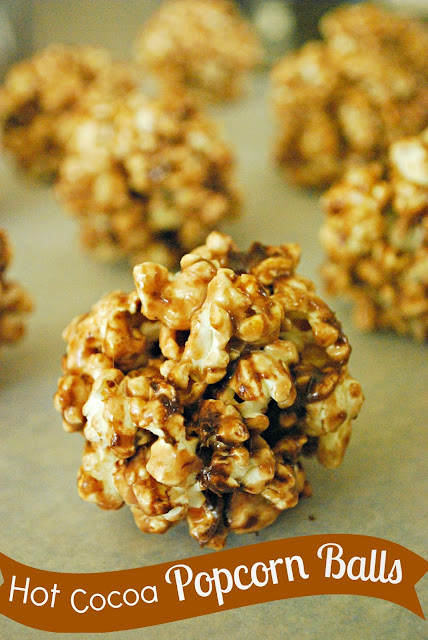 These Hot Cocoa Popcorn Balls have a great chocolaty flavor and are simple to make! #shop #EasyGifts #Cbias