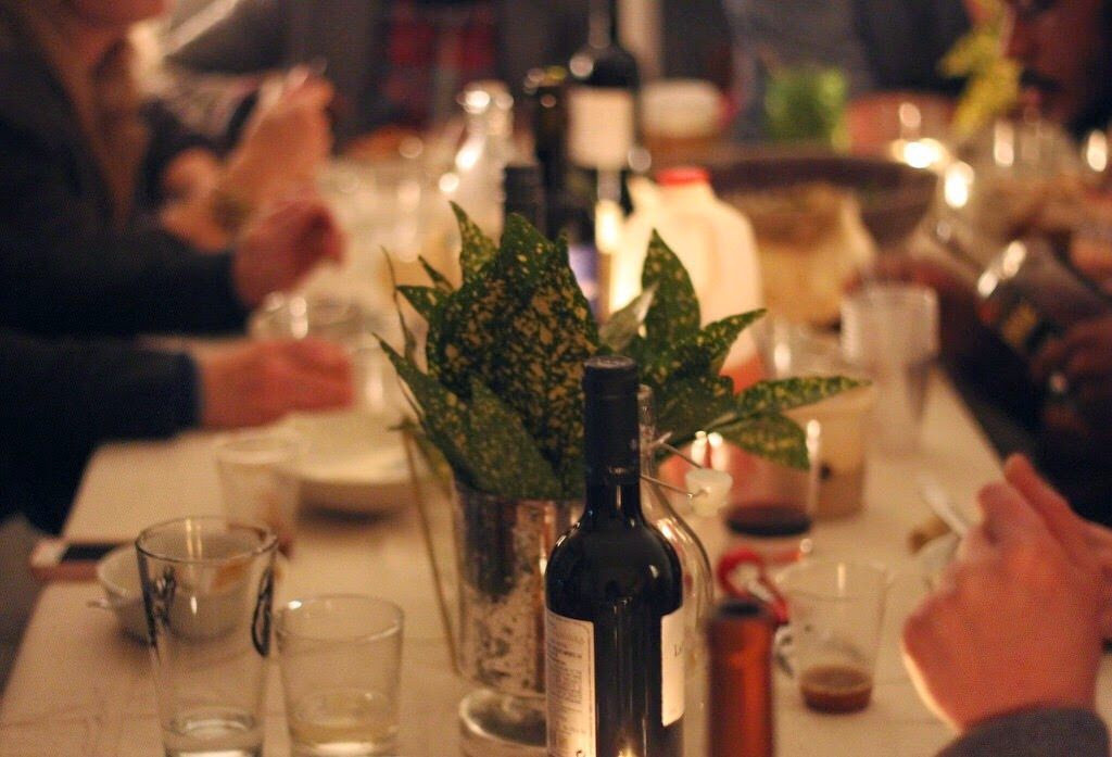 Wine on Dinner Party Table