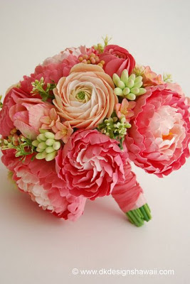 clay bridal bouquet, pink peony bouquet