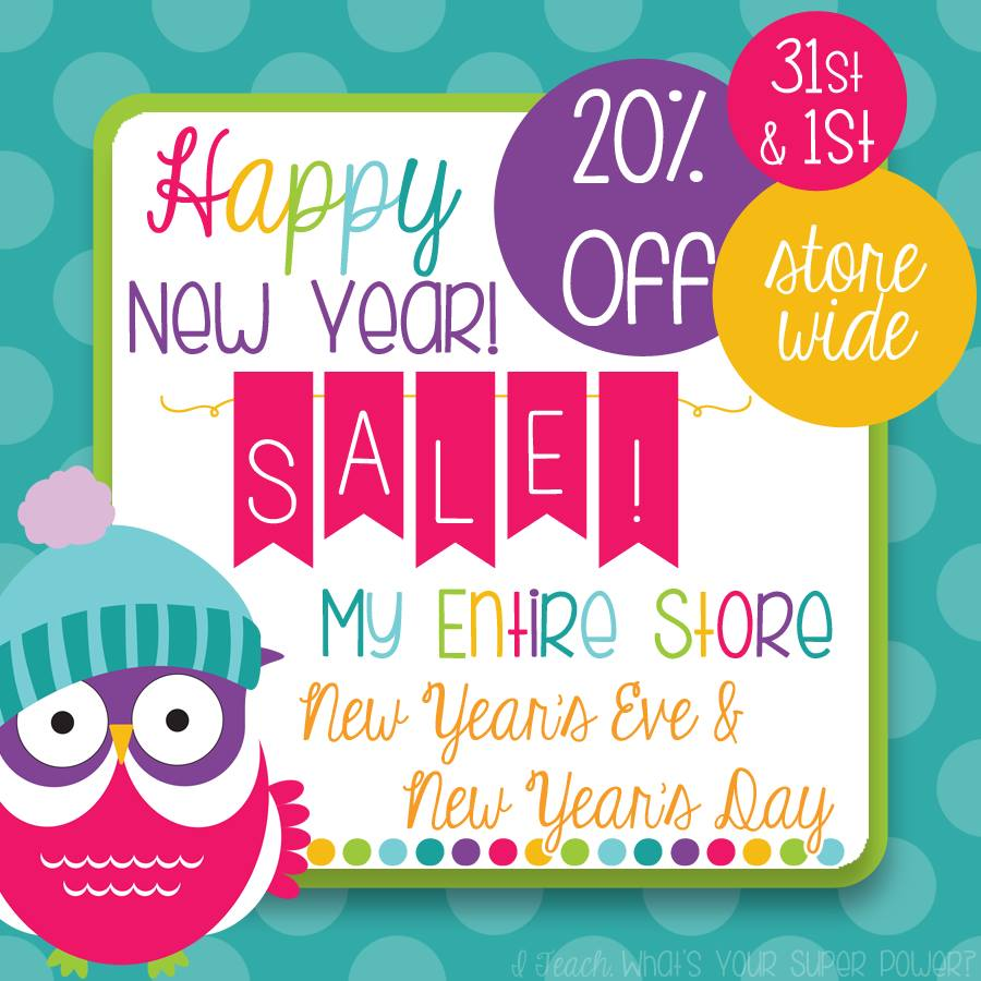 Fern Smith's Classroom Ideas Happy New Year TeachersPayTeachers Sale!