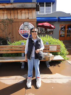 Grandma outside Bubba Gump Shrimp in Monterey