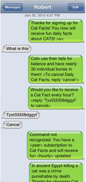 would you like to subscribe to cat facts daily vowel movements