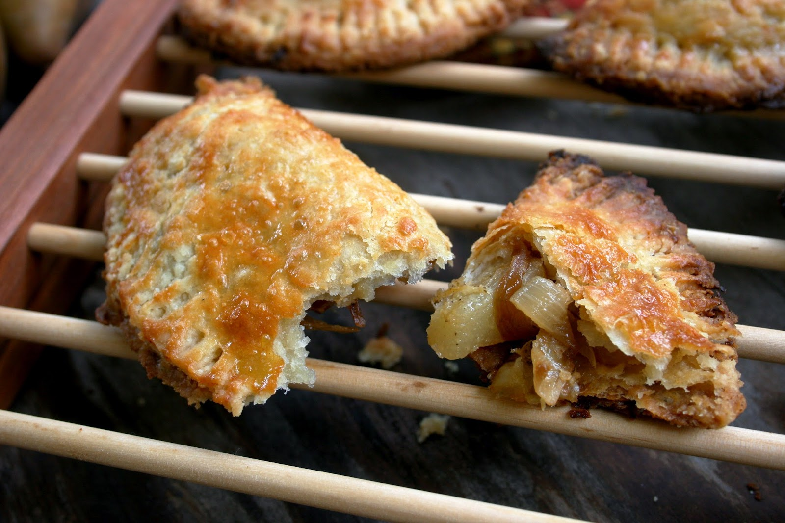 Pear, Gruyere & Caramelized Onion Hand Pies, close-up
