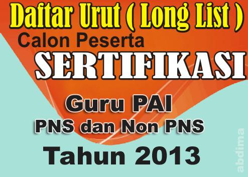 Longlist Sertifikasi Guru PAI 2013