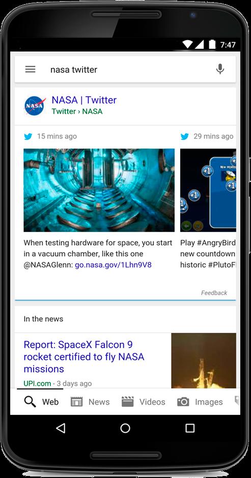Résultats Twitter sur Google Mobile pour la nasa