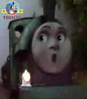 Thomas the train Peter Sam the tank engine whistled nervously a ghost train railway junction turning