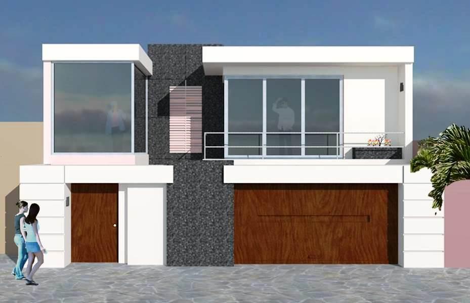 Fachadas de casas casa blanca con cochera y balc n for Fachada de casas modernas con balcon
