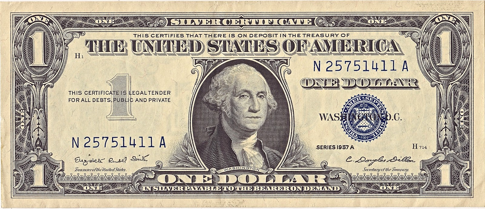 one dollar silver certificate 1957
